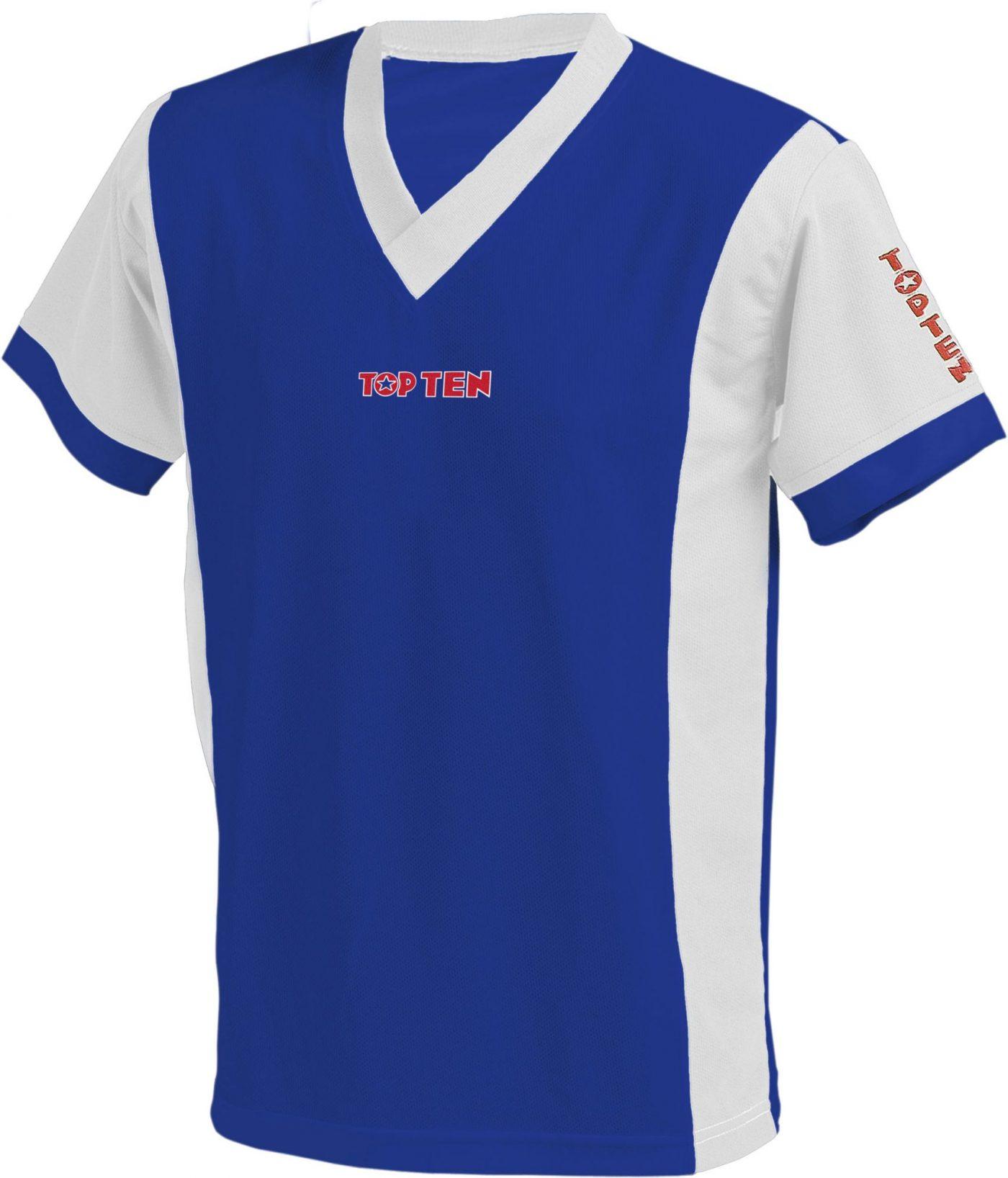 "TOP TEN T-Shirt  V-Hals ""UNISEX"" Blauw - Wit"