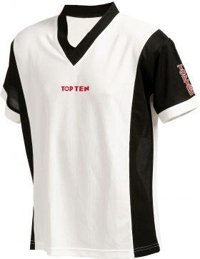 """T-Shirt  V-Hals """"UNISEX"""" Wit - Zwart"""