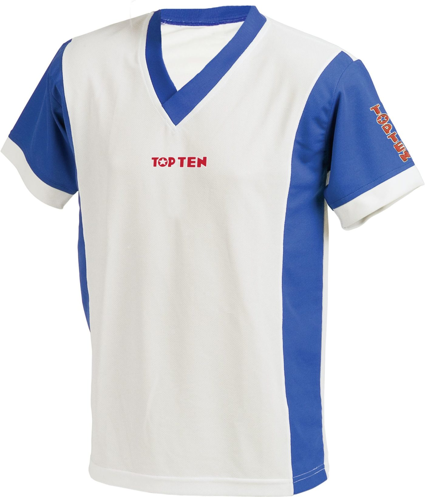 "TOP TEN T-Shirt V-Hals ""UNISEX"" Wit - Blauw"