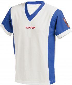 """T-Shirt  V-Hals """"UNISEX"""" Wit - Blauw"""