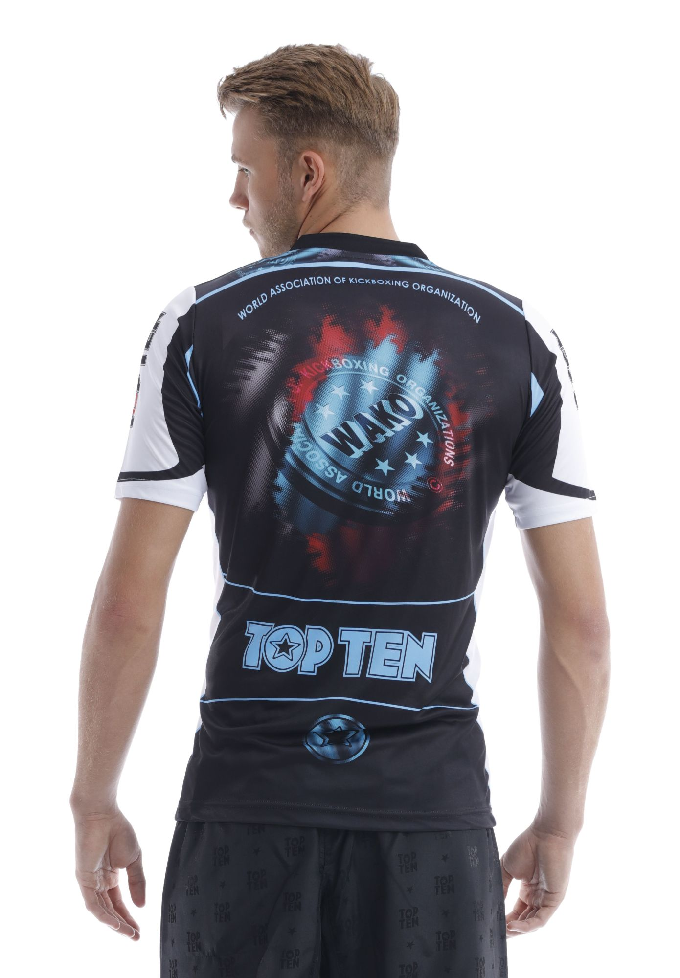 """TOP TEN T-Shirt """"WAKO"""" Zwart - Wit"""