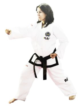 "TOP TEN Taekwondo Master Dobok ""Pattern"" (ITF approved) Wit"