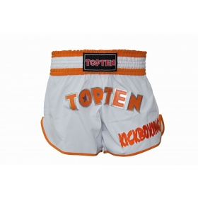 "Top Ten Kickboksbroekje ""FLEXZ PRO"" (Wit / Oranje)"