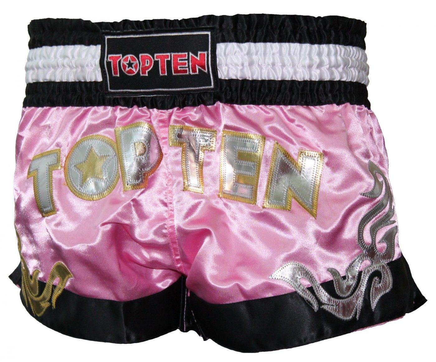"""Top Ten Thaiboksbroekje """"Girls"""" voor dames (Zwart / Roze)"""
