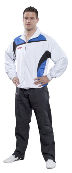 """Trainingspak """"Premium Class"""" met zwarte broek voor kinderen Wit - Blauw"""