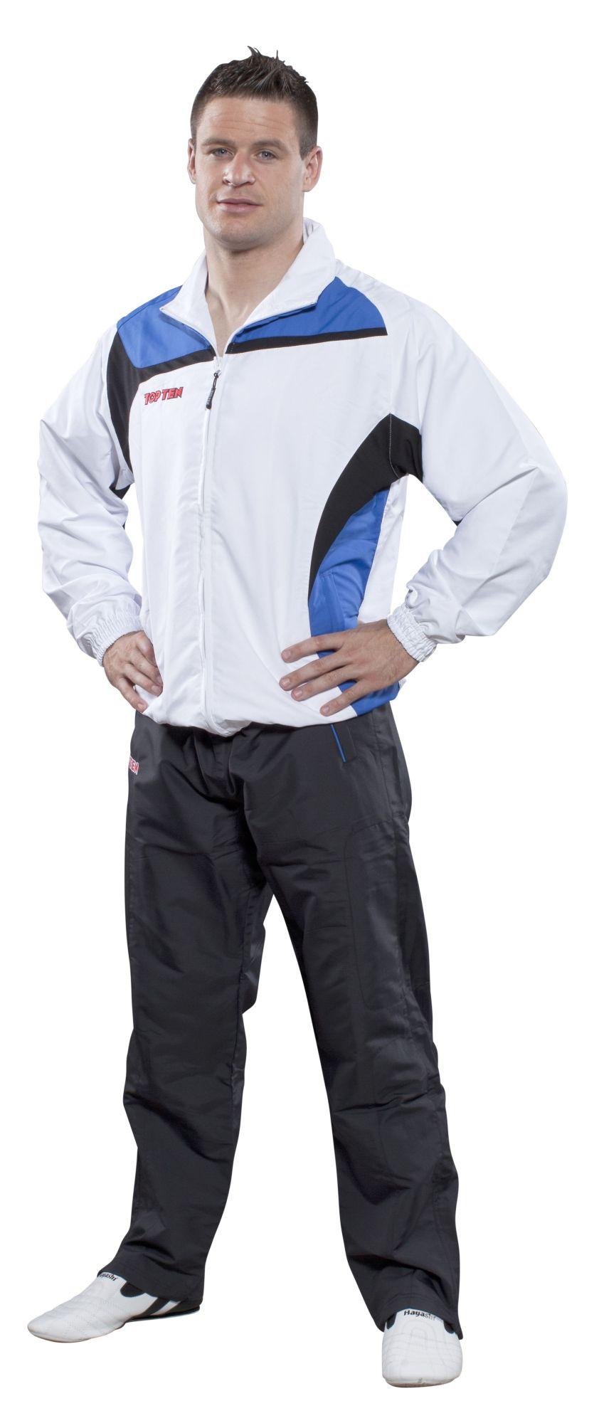 """TOP TEN Trainingspak """"Premium Class"""" met zwarte broek Wit - Blauw"""