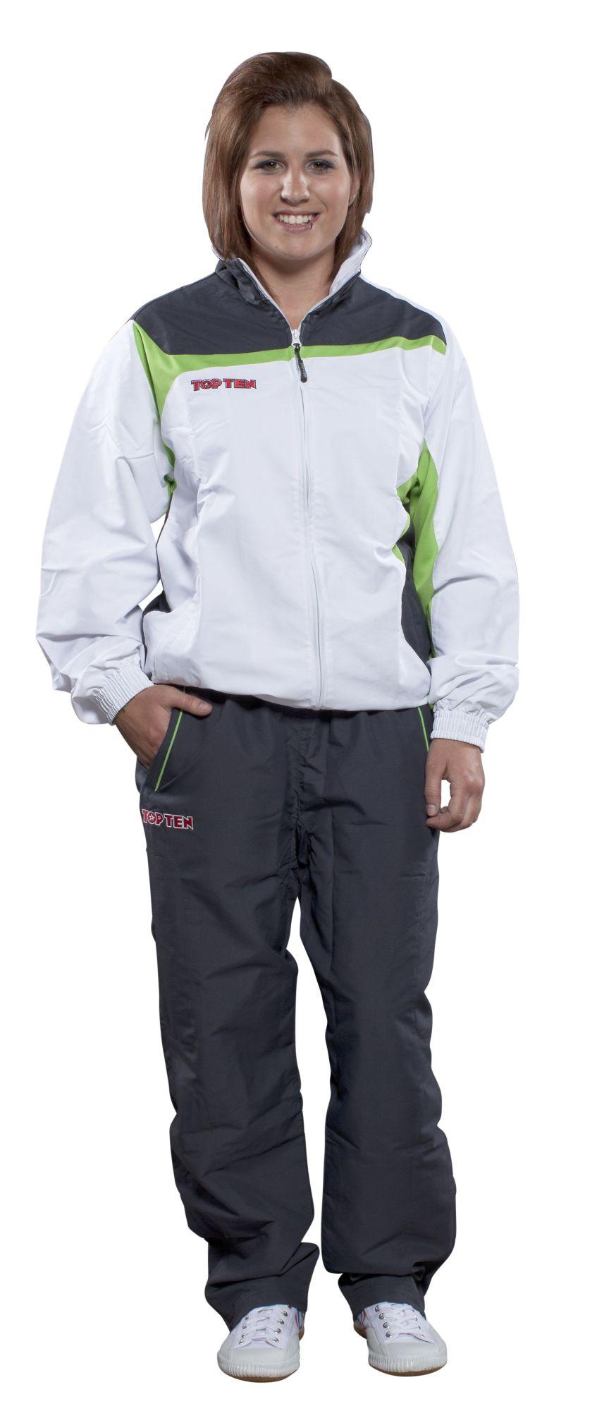"""TOP TEN Trainingspak """"Premium Class"""" met zwarte broek voor kinderen Wit - Groen"""