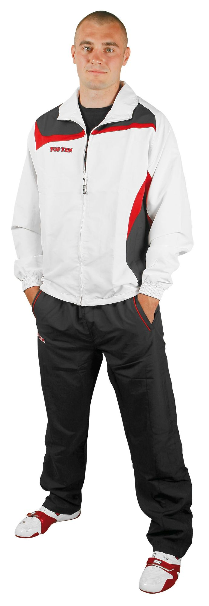 """TOP TEN Trainingspak """"Premium Class"""" met zwarte broek voor kinderen Wit - rood"""