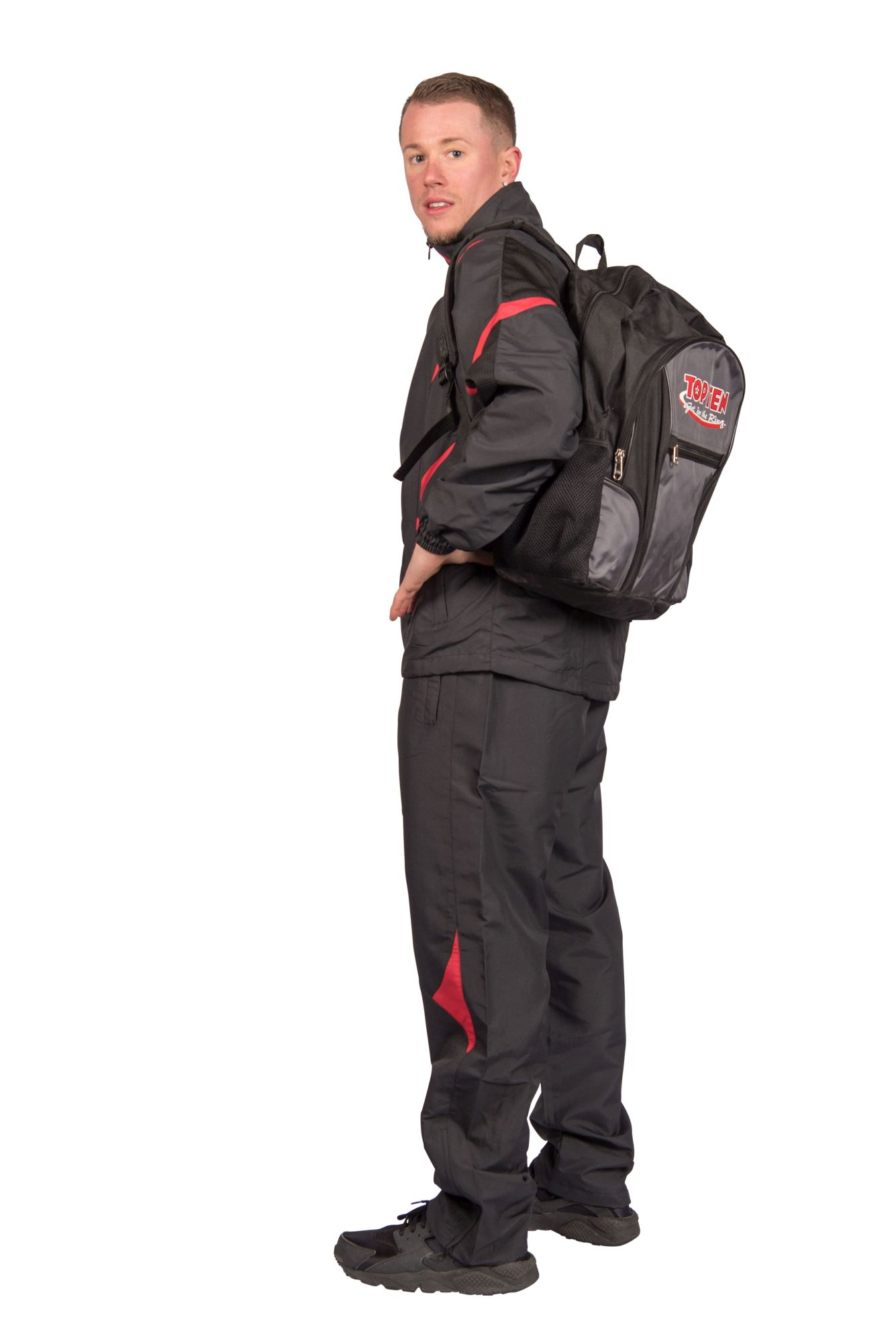 """TOP TEN Trainingspak """"Premium Quality"""" met zwarte broek voor kinderen Zwart - rood"""