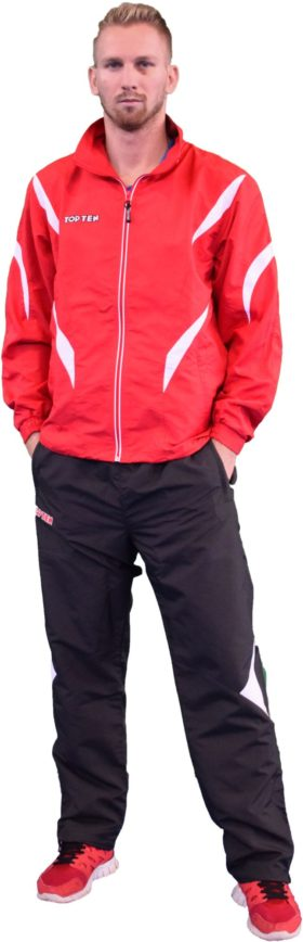 """TOP TEN Trainingspak """"Premium Quality"""" met zwarte broek voor kinderen Rood - Wit"""
