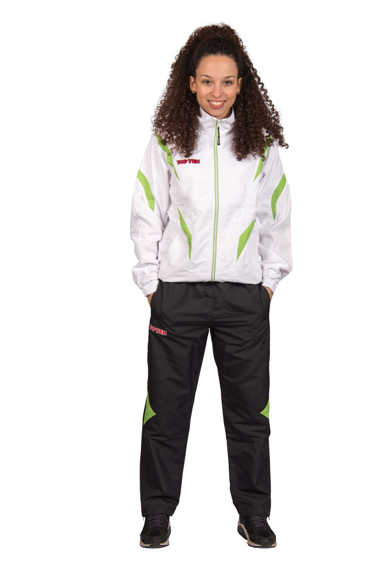 """TOP TEN Trainingspak """"Premium Quality"""" met zwarte broek voor kinderen Wit - Groen"""
