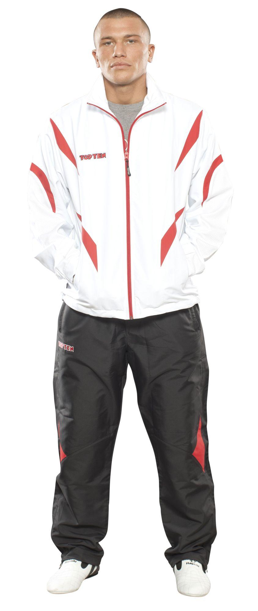 """TOP TEN Trainingspak """"Premium Quality"""" met zwarte broek voor kinderen Wit - rood"""