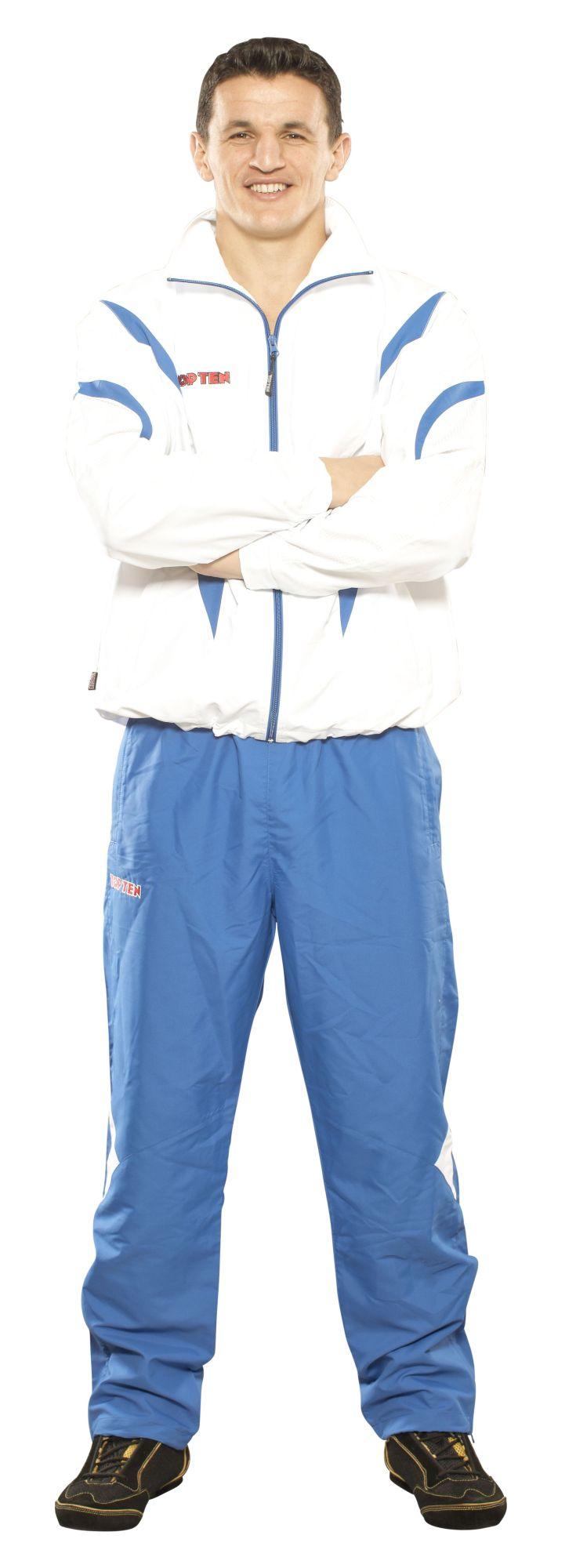 """TOP TEN Trainingspak """"Premium Quality"""" met blauw pants voor kinderen Wit - Blauw"""