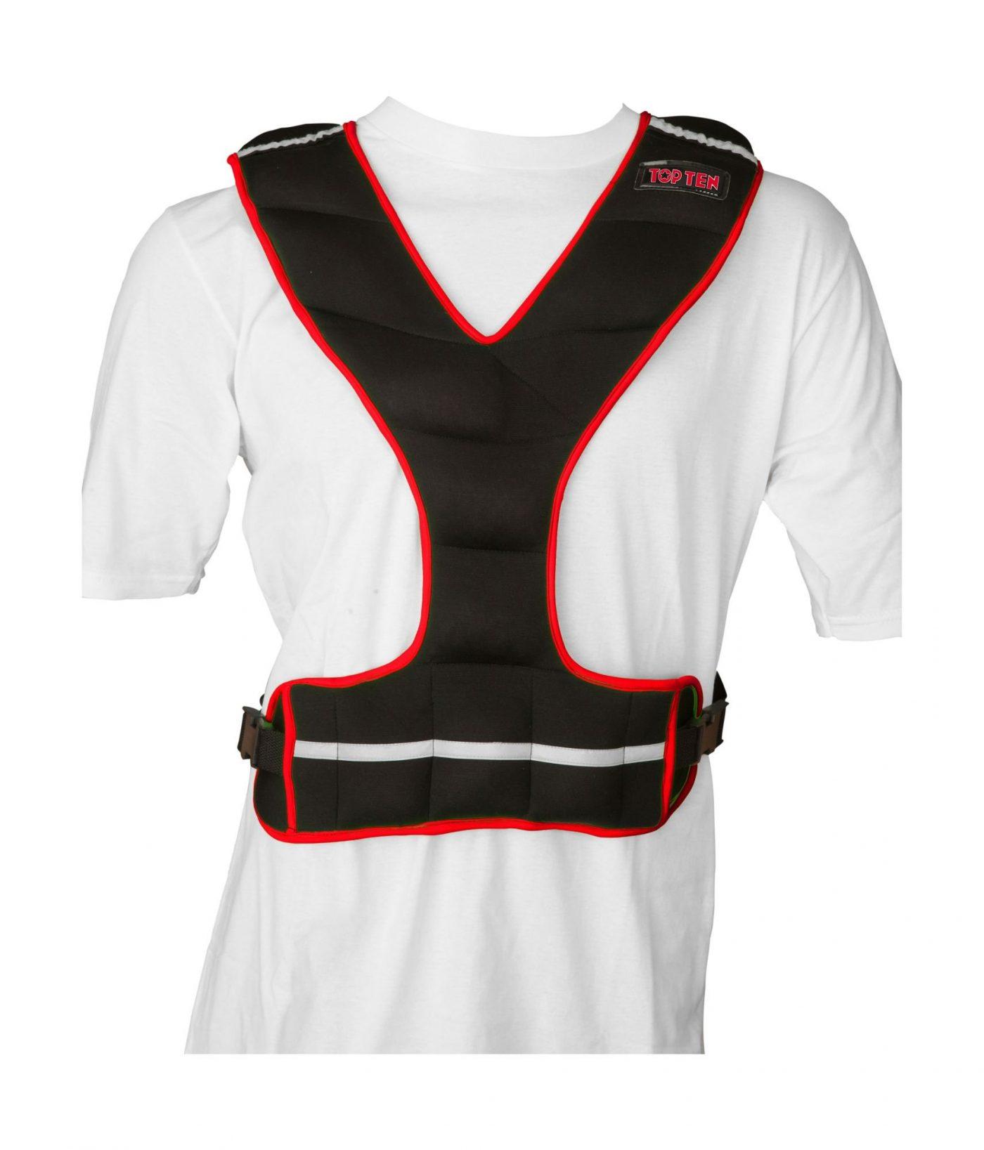 TOP TEN Gewichtsvest (neopreen) Zwart - rood