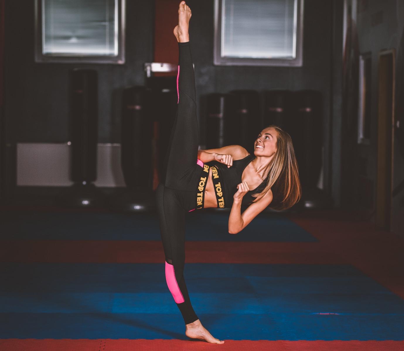 TOP TEN Fitness Compressiebroek / Legging Zwart - Roze