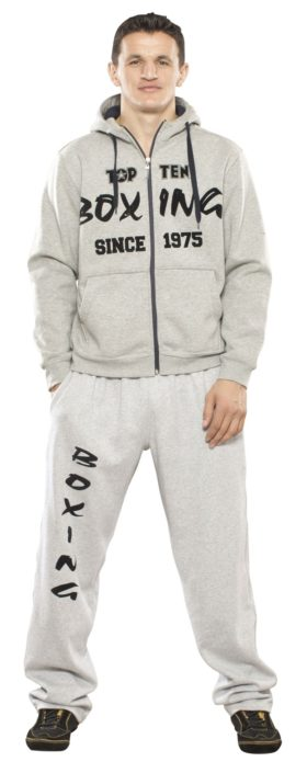 "Trui met hoodie en rits ""Boxing since 1975"" Grijs"