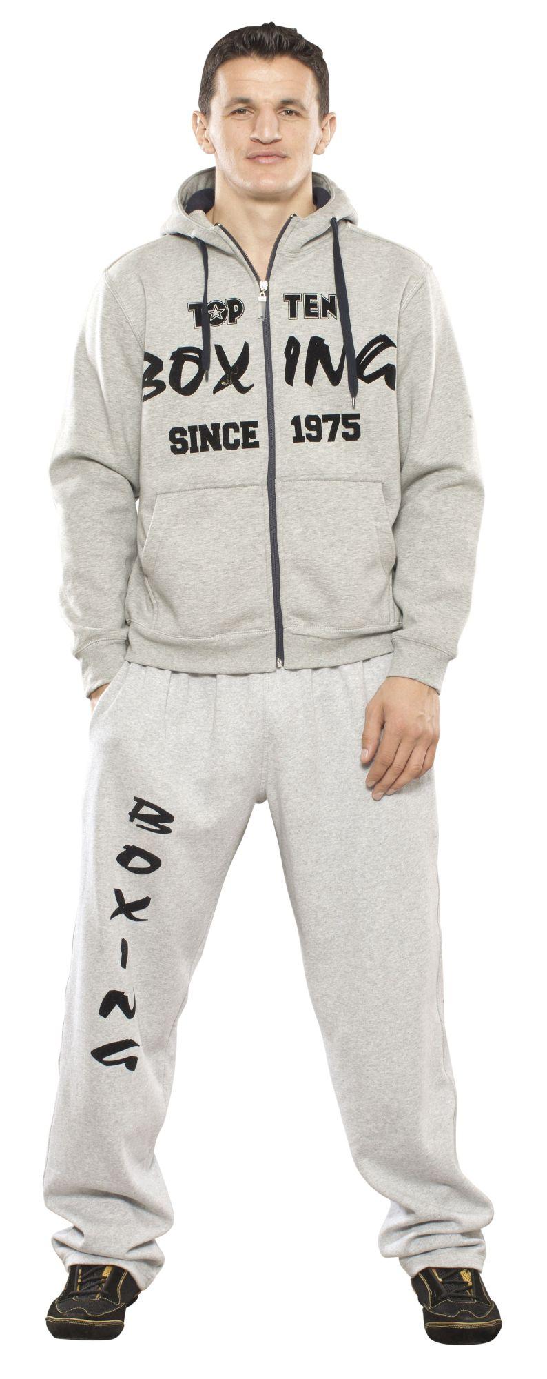 """TOP TEN Trui met hoodie en rits """"Boxing since 1975"""" Grijs"""