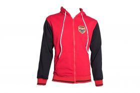 """Trui met hoodie en rits """"Coat of Arms"""" Rood - Zwart"""