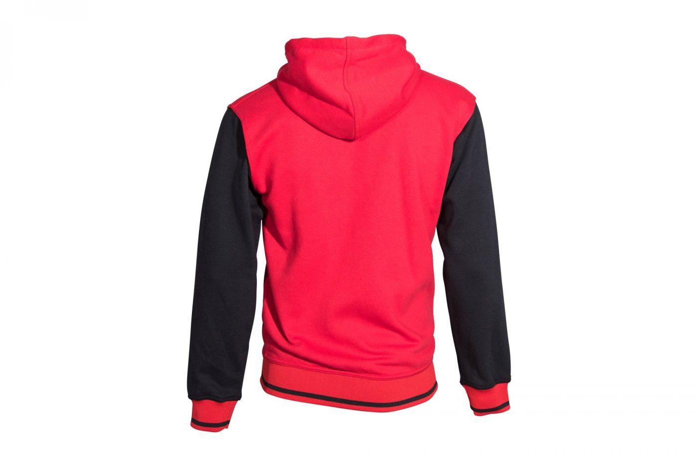 """TOP TEN Trui met hoodie en rits """"Coat of Arms"""" Rood - Zwart"""