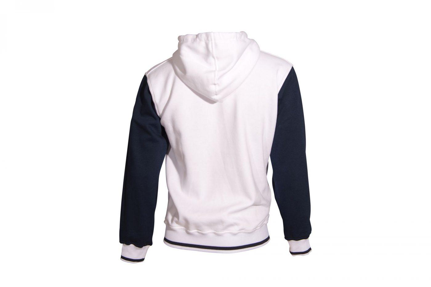 """TOP TEN Trui met hoodie en rits """"Coat of Arms"""" Wit - Donker blauw"""