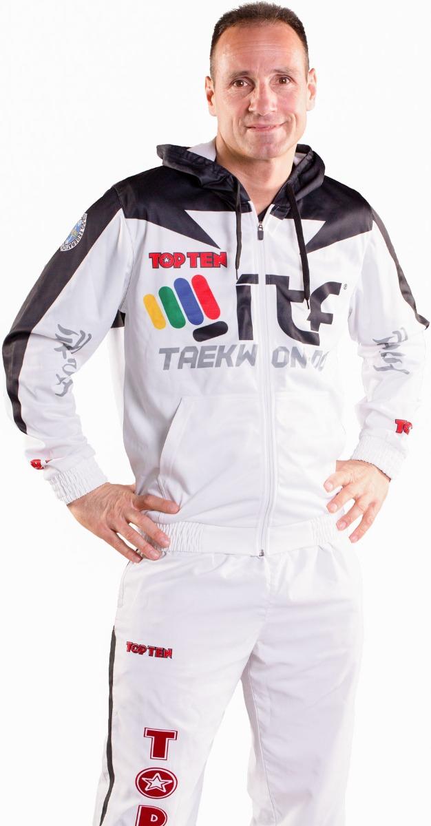 "TOP TEN Trui met hoodie en rits ""ITF Peaks"" Wit - Zwart"