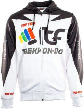 """Trui met hoodie en rits """"ITF Peaks"""" Wit - Zwart"""