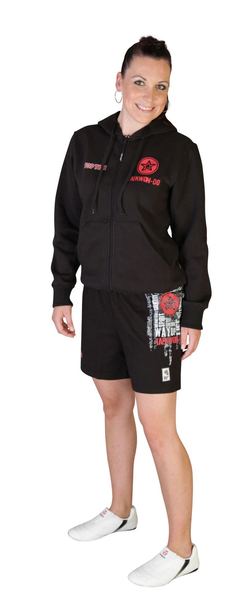 """TOP TEN Trui met hoodie en rits """"ITF Taekwondo"""" Zwart"""