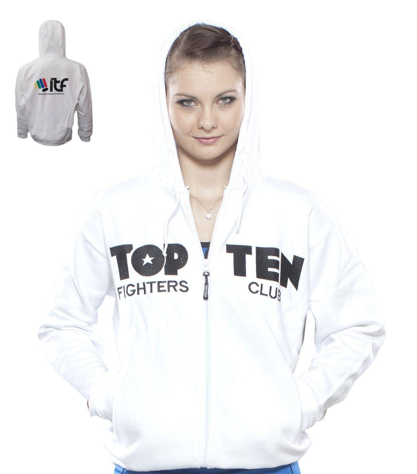 "TOP TEN Trui met hoodie en rits ""TOP TEN Fighters Club"" Wit"