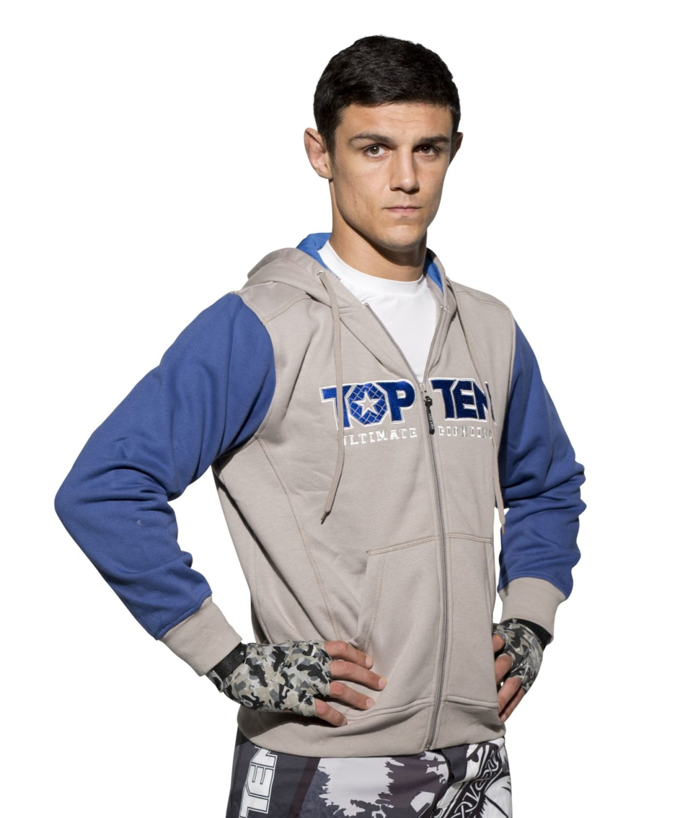"TOP TEN Trui met hoodie en rits ""Ultimate Fighting"" Blauw"