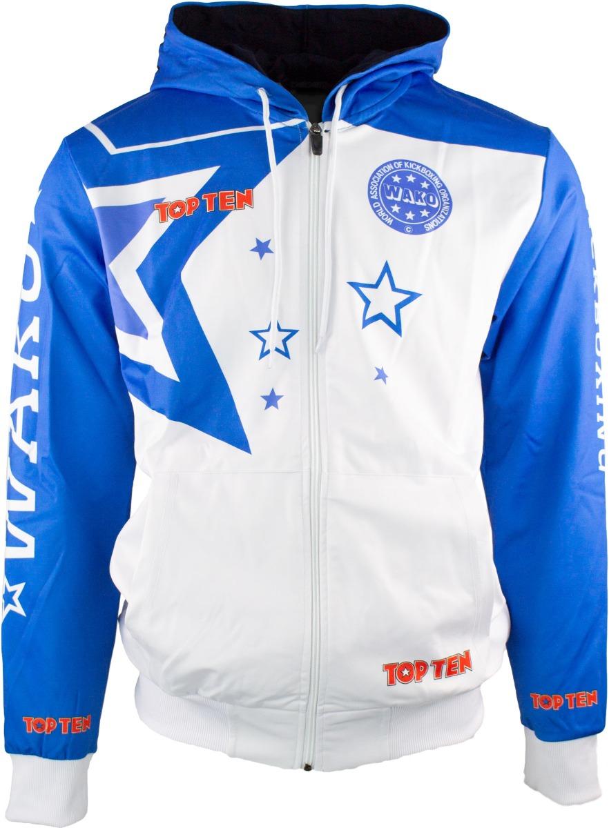 "Trui met hoodie en rits ""WAKO Stars"" Wit - Blauw"