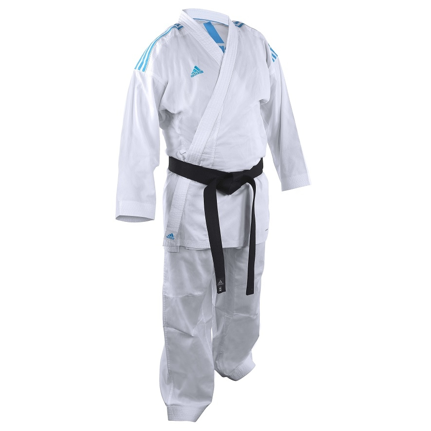 adidas Karatepak K220KF Kumite Fighter Wit/Blauw Maat 140