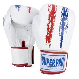 Super Pro Combat Gear Warrior Lederen (kick)bokshandschoenen Rood/Wit/Blauw 6oz