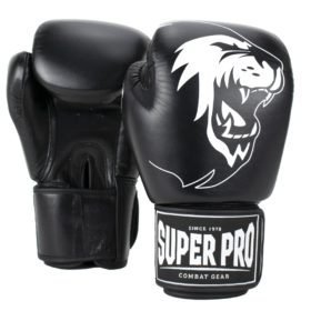Super Pro Combat Gear Warrior Lederen (kick)bokshandschoenen Zwart/Wit 6oz