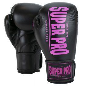 Super Pro Combat Gear Champ (kick)bokshandschoenen Zwart/Roze 8oz