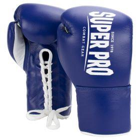 Super Pro Combat Gear Winner Wedstrijdhandschoenen Veter Blauw/Wit 10oz