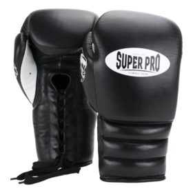Super Pro Combat Gear Knock Out Bokshandschoenen Veter Zwart/Wit 12oz