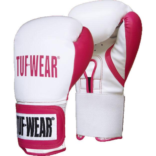TUF Wear dames Wildcat kickbokshandschoenen (Wit/Roze)