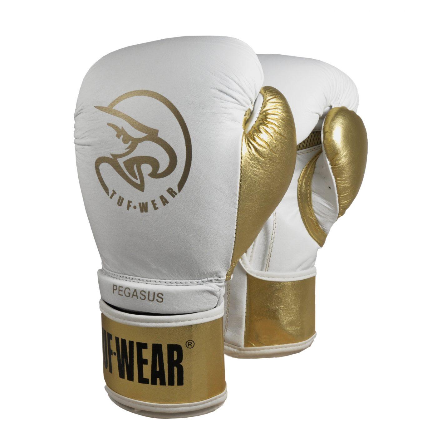 TUF Wear Pegasus (kick)bokshandschoen Leder Wit/Goud 12oz