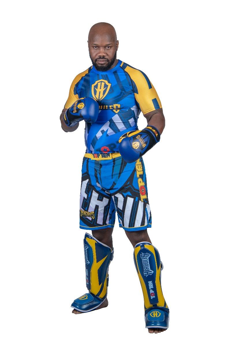 """TOP TEN MMA Rashguard """"Hercules"""" (Blauw - Geel)"""