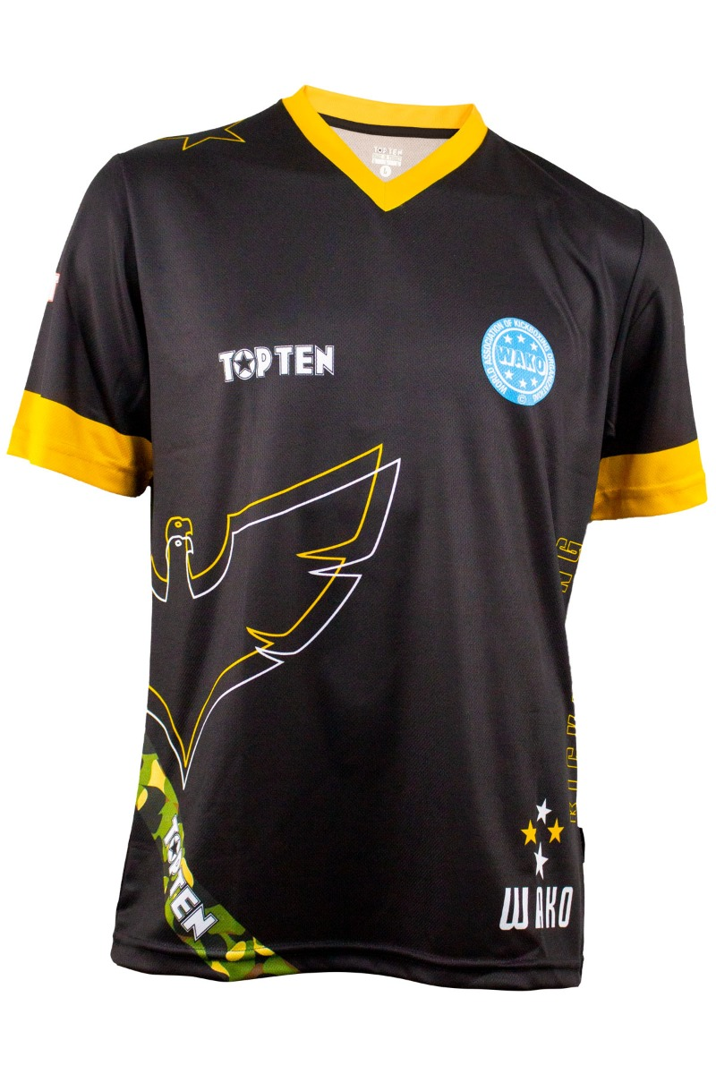 """WAKO Shirt """"Eagle"""" met V-Hals Zwart - goud"""
