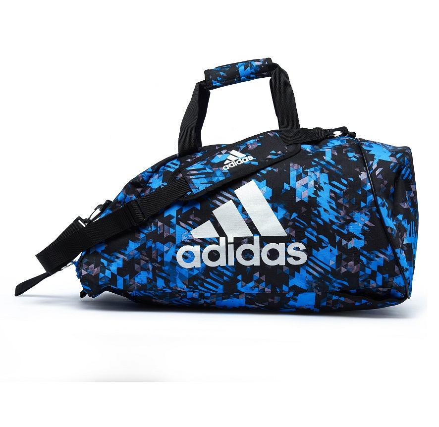 adidas Combat Sporttas Polyester 2 in 1 Blauw Camo/Zilver Small