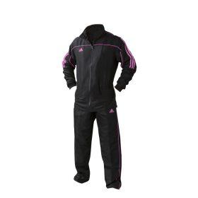 adidas Team Track Trainingsjack Zwart/Roze maat 140