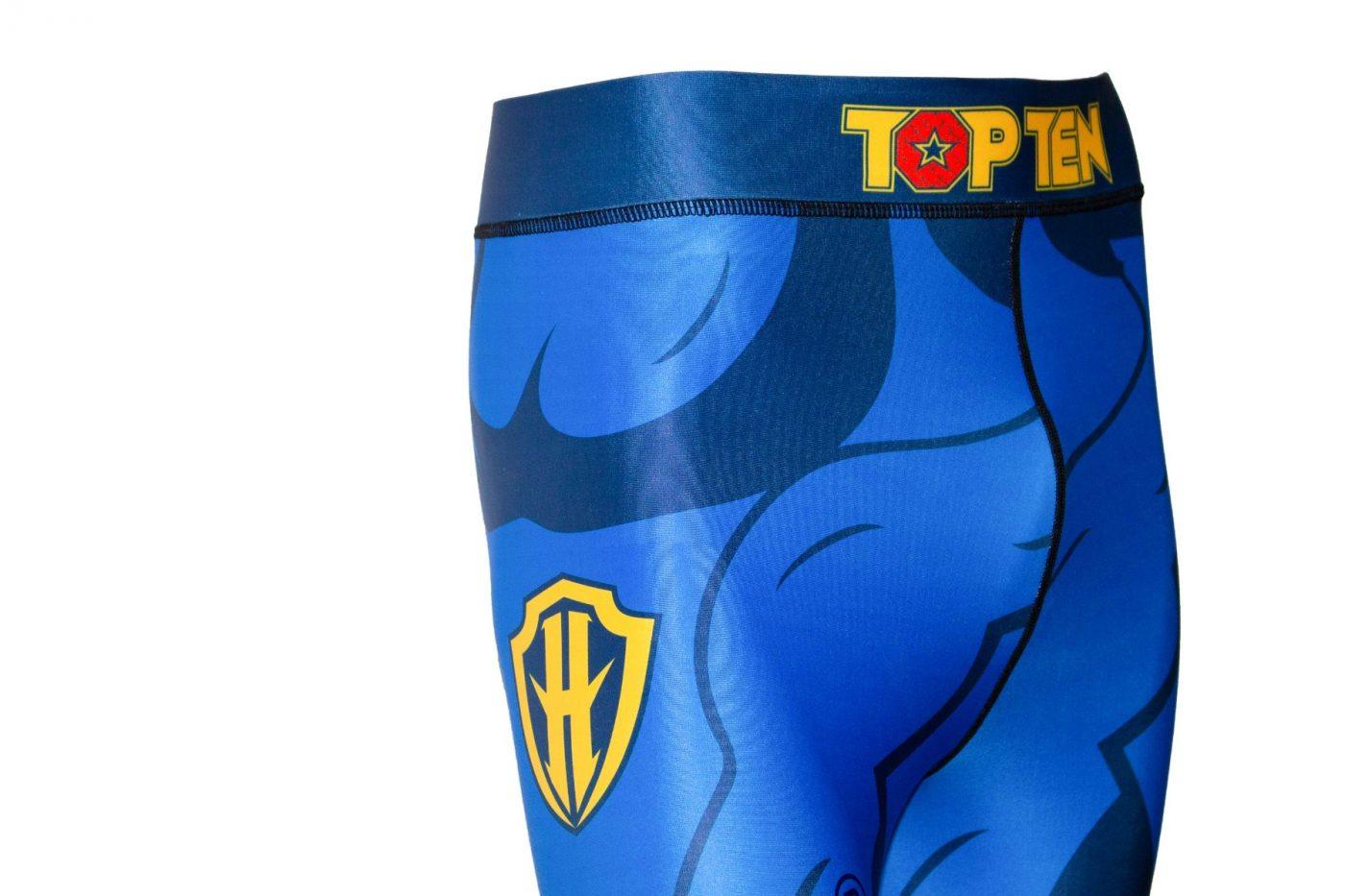 """TOP TEN MMA Compressiebroek / legging """"Hercules"""" (Blauw - Geel)"""