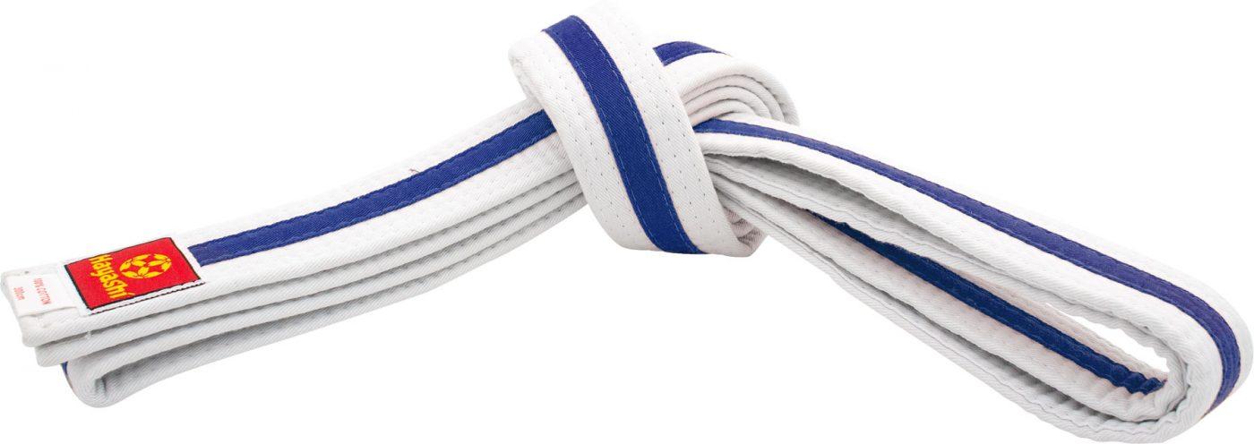 Karateband tweekleurig Wit - Blauw