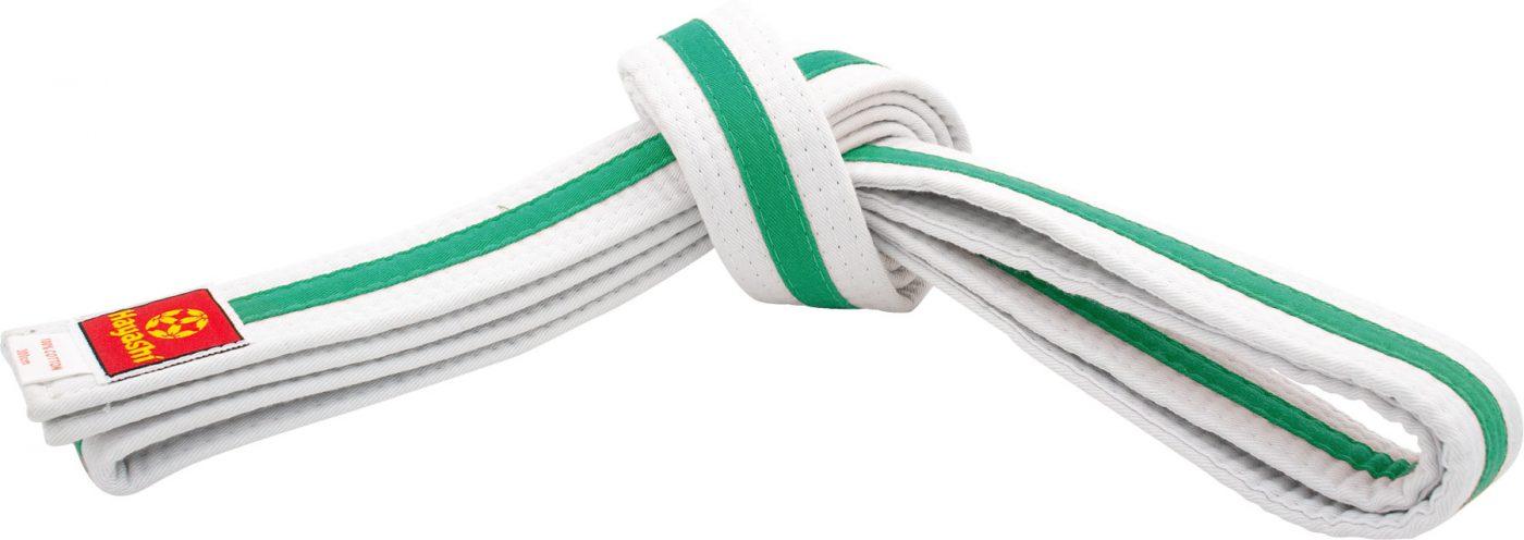 Hayashi Karateband tweekleurig (Wit - Groen)