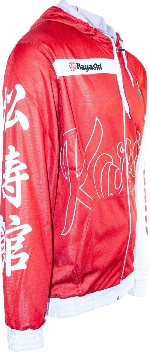 """Hayashi Trui met hoodie en rits """"WKF Brick"""" (Rood - Wit)"""