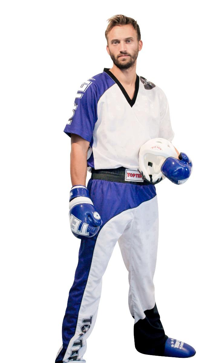 """Kickboksuniform """"Bow"""" Wit - Blauw - Zwart"""