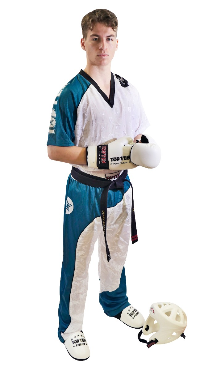 "Kickboksuniform ""Bow"" Wit - Teal - Zwart"