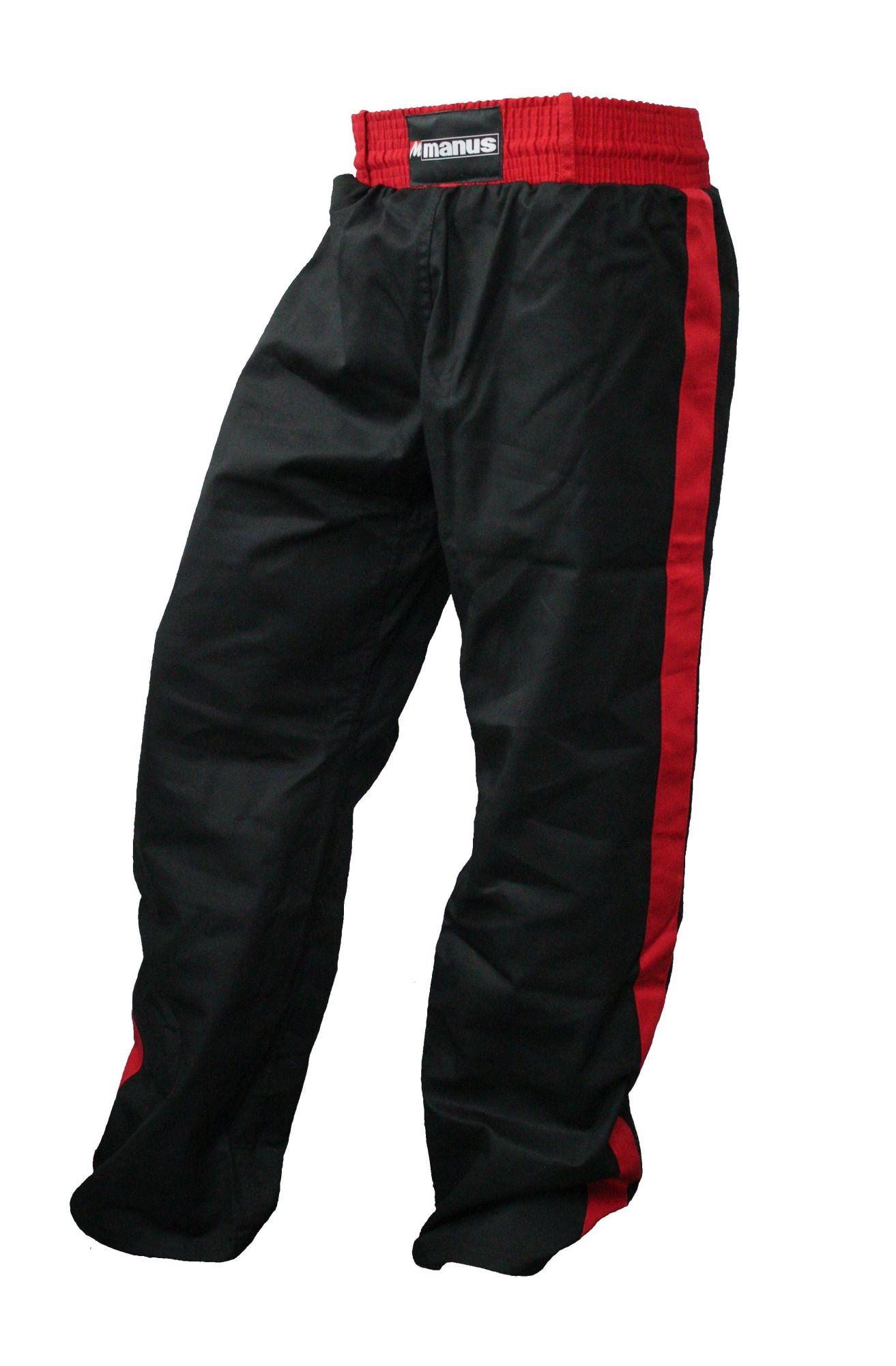 Manus Kickboksbroek met strepen (Zwart - rood)