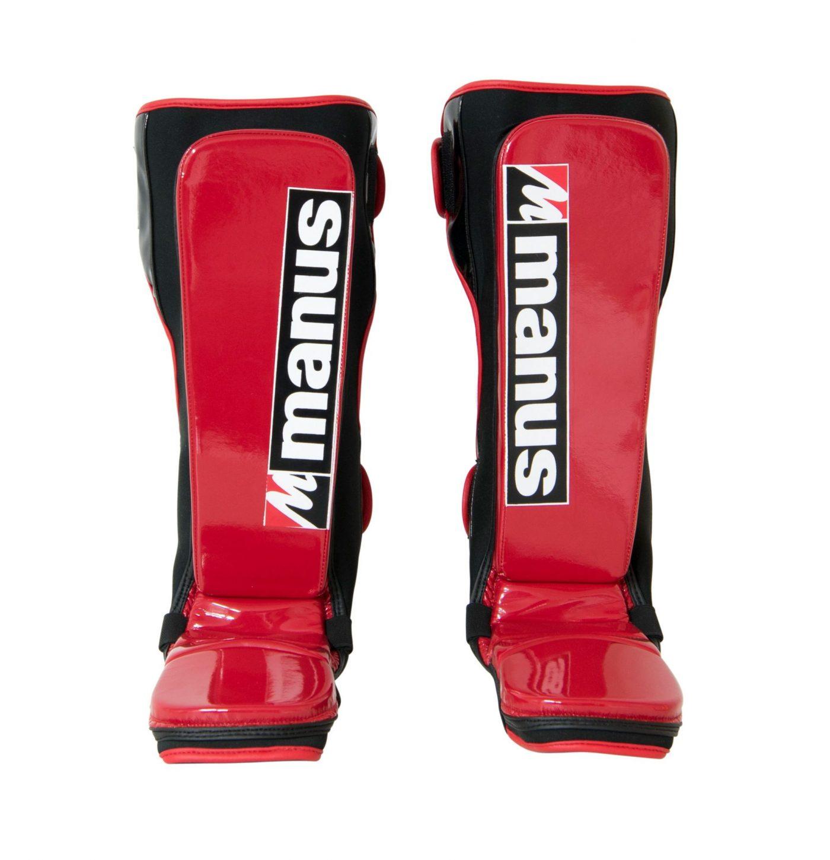 """Manus Scheenbeschermers """"Glossy"""" voor Thaiboksen / K1 / MMA (Rood)"""